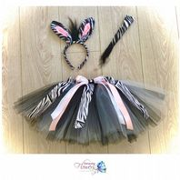 Zebra tutu costume tulle skirt ears tail set girls dress up cake smash photos animal fancy dress